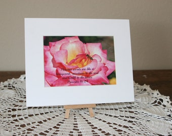 A flower and a bee matted 5x7 photograph