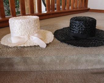 Vintage Spectator Hats Black/White     2 PC LOT