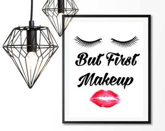 But First Makeup, Makeup Print, Mascara Lipstick,Beauty Glamour,Wall Art Print,8x10 Printable,Vanity Art Print,Bathroom Decor,Lipstick print