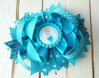 Cinderella Bow, Cinderella Boutique Bow, Cinderella stacked hairbow,  Cinderella birthday bow, Cinderella outfit, Disney Princess