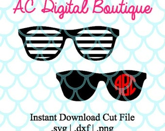 Sunglasses Digital Cut File--Instant Download--SVG, DXF, PNG Files for Cutting Machine Software