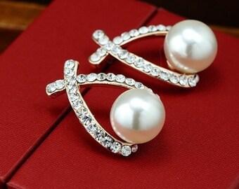 Glossy Imitation Rhinestone Pearl Earrings