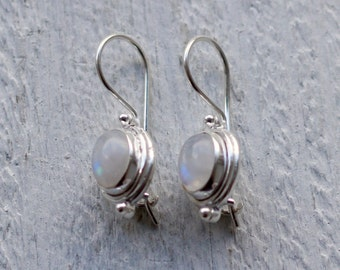 Rainbow moonstone sterling silver earrings, Retro bezel settings, 925 silver, Gemstone earrings, Moonstone
