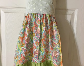 Paisley and green high low dress.  Size 6