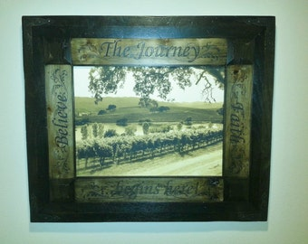 Photo copied over Canvas, w/ personalized Rustic Frame