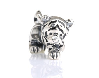 6a467ce6a Kitty Tiger Sterling Silver Charm Bead S925, Cute Tiger Cat Kitty Silver  Charm Bead Pendant