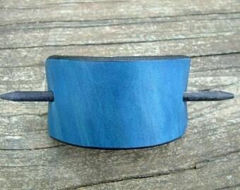 Minimalistic hair clip / barrette - blue leather
