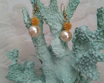 Beautiful Hooped Pearl And Gold Earrings