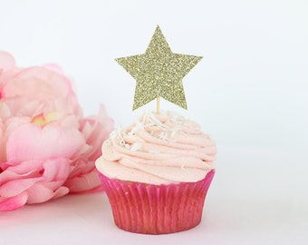 Gold Glitter Star Cupcake Toppers (Set of 12) | Birthday Party Toppers | Baby Shower Decorations | Bridal Shower | Twinkle Little Star Party