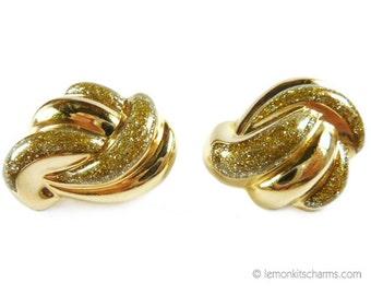 Vintage Avon Glitter Knot Earrings, Jewelry 1980s, Goldtone Gold, Swirl Large Chunky Enamel, Clip On