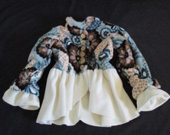 Girls Fleece Jacket- Size 8 – Limited Blue  Blue Floral Ultra Fluffy Fleece Jacket –Victorian Sleeve – Double Ruffle Cuff  - Girls Clothing