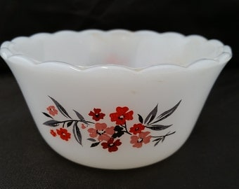 Vintage FIRE KING MILK Glass Custard Cup in the Primrose Pattern