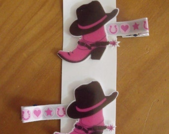 Handmade boutique set of 2 Hot Pink Cowboy Boots & Cowboy Hat Hair Clips on lined double prong alligator clips