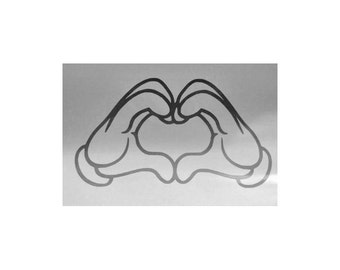 Mickey Mouse Heart Hands Vinyl Decal #37