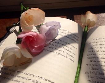 Miniature Paper Flower Bookmarks / Miniature Coffee Filter Flower Bookmarks (2)