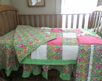 New 3 piece baby girl crib bedding set, new, must see!