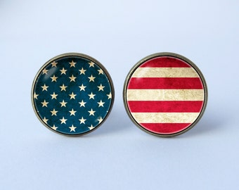 United States flag cufflinks American flag cuff links US flag cufflinks Patriotic cufflinks American jewelry USA flag cufflinks Memorial Day