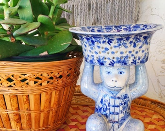 Vintage chinoiserie monkey dish/ holder