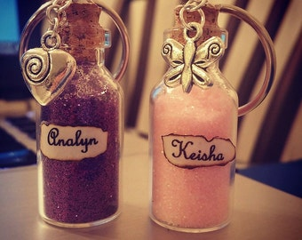 Personalized Bottle Keychains with Charms