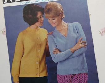 Vintage original Marriner knitting pattern dated 1963 for cardigan and v-neck sweater
