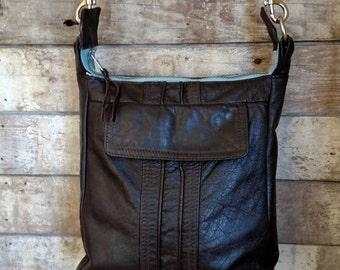 Brown leather crossbody handbag