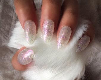 Beautiful Iridescent Glitter White Stiletto Nails   DreamsOfGlory