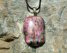 Dichroic Fused Glass Pendant, shimmering Reds, Greens and Golds on a bed of black, Handmade Necklace