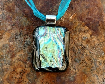 Dichroic Fused Glass Pendant, Black with shimmering blue, green and yellow, Handmade Necklace