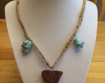 braided necklace with stone