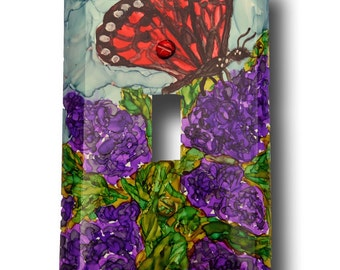 Hand Painted Switchplate Cover - Red Butterfly on Lilacs