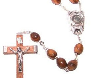 Olive Wood Rosary with Jordan River Holy Water and Wooden Crucifix