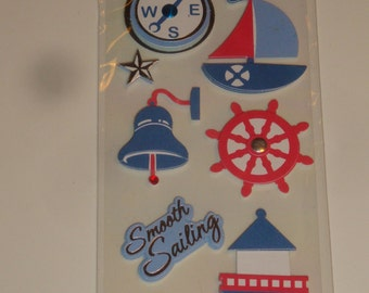 NEW ~ Dimensional Scrapbook Stickers Smooth Sailing Lighthouse Nautical Sailboat Embellishments
