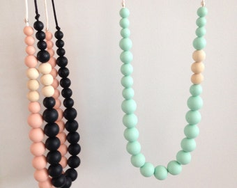 TIFFANY // Teething Necklace // Teething // Nursing Necklace // Silicone Beads // 100% Food Grade Silicone // Baby Shower Gift // Teether