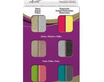 PREMO Sculpey Accent Polymer Clay Sampler Stone Fluorescent Glitter Pearl 12 bars Polyform Oven Bake Clays