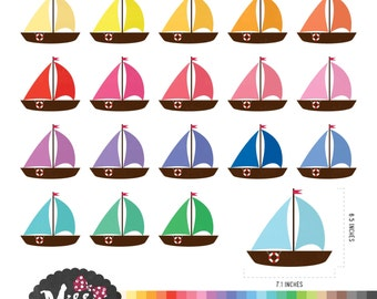30 Colors Sailboat Clipart - Instant Download