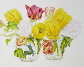 Spring flowers in two vases