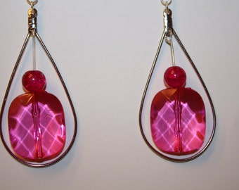 Valentines Earrings Pink Teardrop Hoop Handmade Teardrop Dangle Large Statement  Artisan Boho Earrings Bohemian Earrings Gypsy Folk