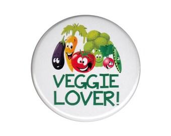 Veggie Lover Button Badge Pin Vegetarian Hardcore Vegan