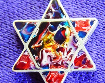 Star of David silver 950 necklace/Free Shipping USA/Star of David silver and resin pendant/Coloured Star of David resin necklace/silver 950