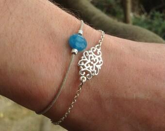 Cotton yarn - blue stone bracelet