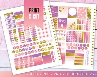 romantic sunset summer printable stickers INSTANT DOWNLOAD \ vertical erin condren planner \ print cut png jpg silhouette file \ letter size