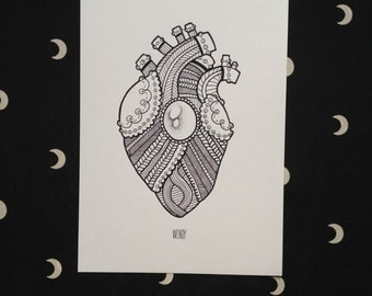 Prints A5 - knitted heart-