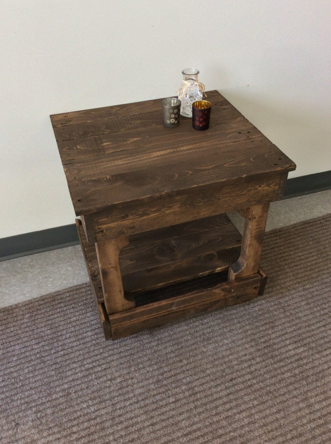 Solid reclaimed wood end table for Reclaimed wood end table