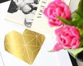 Poster, Print, Wallart, Fine Art-Print, Typography Art, Kunstdrucke: Herz in echter Goldfolie