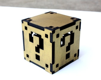 Mario Mystery Cube gift box, retro gamers gifts box, comes with coins with laser engraved message, mario coin cube