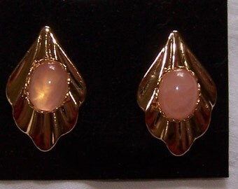 Rose Quartz Earrings in Gold Plate Grecian Drape with Studs