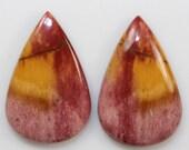 Pair Pink Red Orange Jasper 26.60cts Pair Pear Shape 25.00 x 16.00mm g0033 Cabochon Gemstones Rare Jewelry Making
