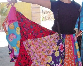 Turkish wide colorful gypsy dance yards panel skirt (used)