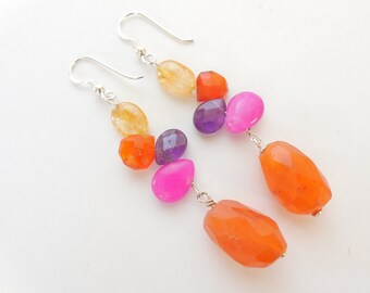 Earrings carnelian pink-orange
