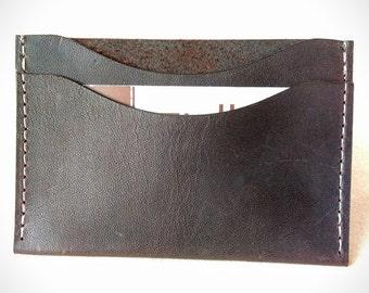 Twin Sleeve Card Holder in deep brown Kangaroo leather